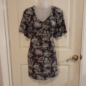 Woman Within black floral tunic top 2X New